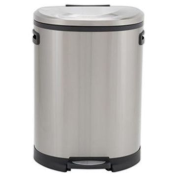 Household Essentials 50-Liter Stainless Steel Oval Step Trash Can