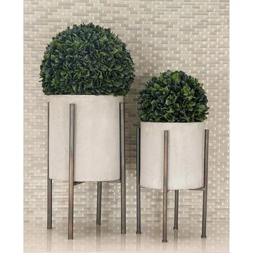 Set of 2 Industrial Cylindrical Light Gray Planters by Studio 350