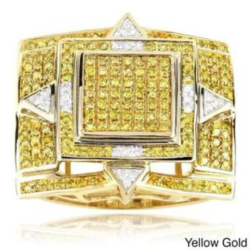 Luxurman 10k Gold 1 1/10ct TDW Men's Yellow Diamond Ring (Yellow - 9.5)