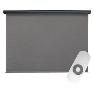 Supreme Rechargeable Motor Outdoor Sun Shade W/ Valance, Lava Stone, 1
