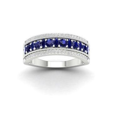 Imperial Gemstone 10K White Gold Blue Sapphire 1/6 CT TW Diamond Women's Band