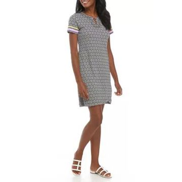 Rafaella Women's Ikat Printed Dress With Ring Hardware -