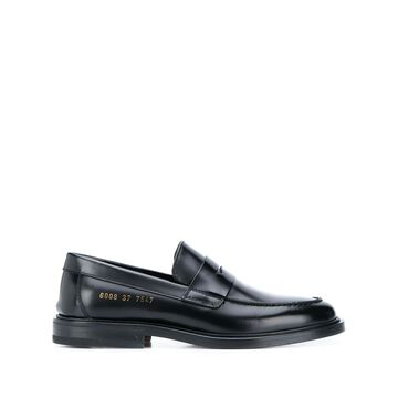 embossed logo loafers