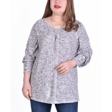 Ny Collection Women's Plus Size Long Sleeve Ribbed Pullover Top