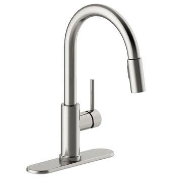 Design House Eastport II Satin Nickel 1-Handle Deck-Mount Pull-Down Handle Kitchen Faucet (Deck Plate Included) | 593822