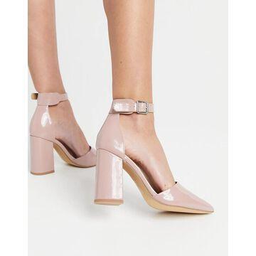 London Rebel ankle strap pointed block heel shoes-Beige