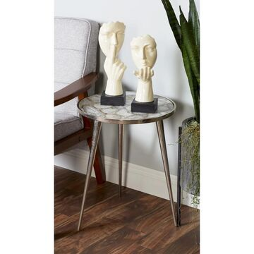 Modern 21 x 17 Inch Aluminum and Agate Round Side Table by Studio 350