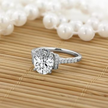 Auriya 2 1/4ct Oval Moissanite and Diamond Engagement Ring 3/8ctw 14k Gold