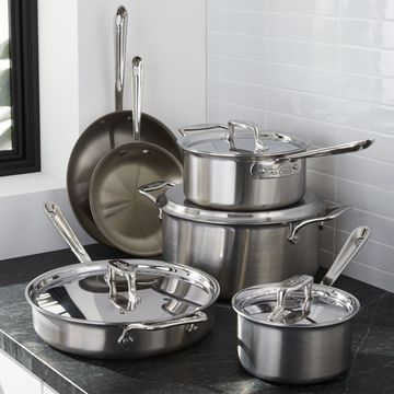 All-Clad A d5 A Brushed Stainless Steel 10-Piece Cookware Set with Bonus