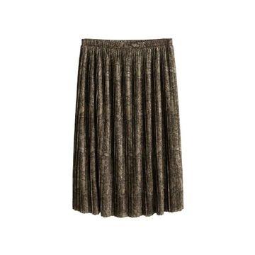 Violeta BY MANGO - Snake print skirt khaki - L - Plus sizes