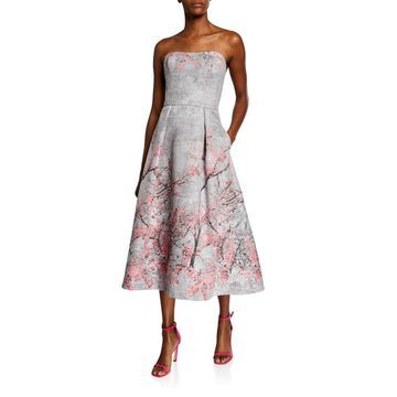 Strapless Jacquard Midi Gown w/ Floral Placement