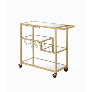 ACME Adamsen Mirrored Serving Cart in Gold and Clear Glass