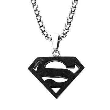 DC Comics Superman Black Stainless Steel Logo Pendant Necklace
