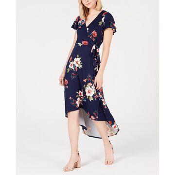 Juniors' Floral High-Low Wrap Dress