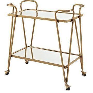 Linon Victory Gold Mid-Century Bar Cart