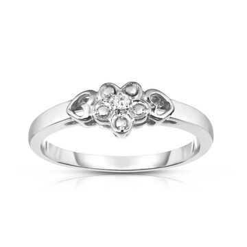 Noray Designs 14k Gold Diamond Accent Flower and Heart Design Ring