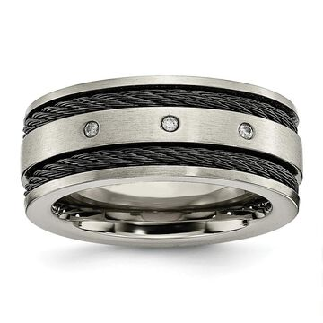 Chisel Titanium Black IP-plated Cable and Diamonds 10mm Brushed Band (10)