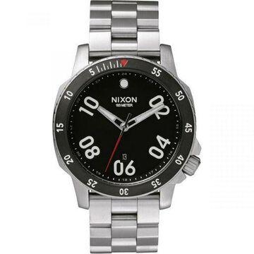 Nixon A506-000 Ranger Mens Silver Metal Bracelet With Black Analog Dial Watch