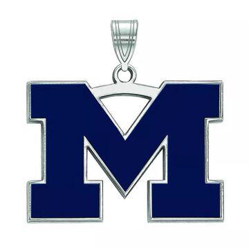 LogoArt Sterling Silver Michigan Wolverines Large Blue Enamel Pendant, Women's, Size: 27 mm