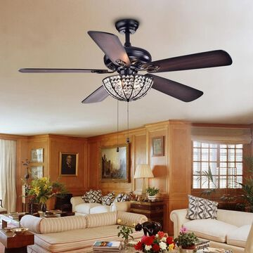 Hannele Bowl 3-light 5-blade Black 52-inch Ceiling Fan (Optional Remote) (Remote)