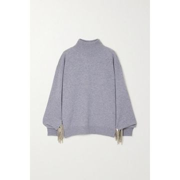 Christopher Kane - Chain-embellished Wool, Silk And Cashmere-blend Sweater - Gray