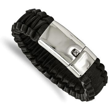 Chisel Stainless Steel Polished Flat Braided Black 8.5-inch Leather Bracelet (8.5 Inch - White)