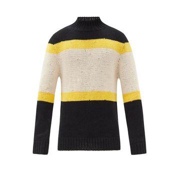 Jil Sander - High-neck Striped Cotton Sweater - Mens - Blue Multi