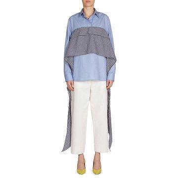 Cedric Charlier Womens Plaid Wrap Bustier Shirt