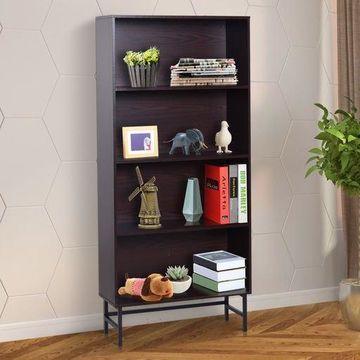 71 4-Shelf Modern Wood Grain Open Bookcase with Metal Feet - Dark Coffee