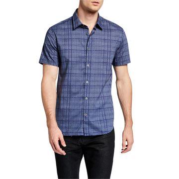 Men's Check-Print Short Sleeve Sport Shirt