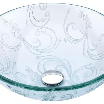 ANZZI Kolokiki Clear Floral Tempered Glass Vessel Round Bathroom Sink (Drain Included) (16.5-in x 16.5-in) | S214