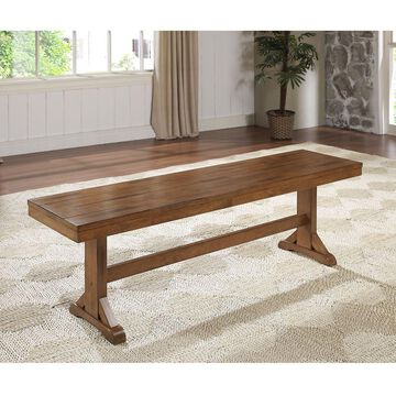 Walker Edison Antique Brown Wood Bench