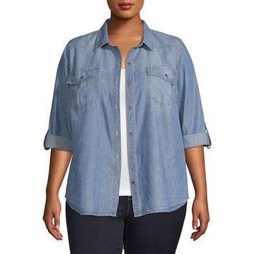 a.n.a Womens Long Sleeve Regular Fit Button-Front Shirt -Plus