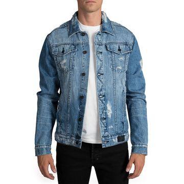 Men's Light Wash Destroyed Denim Jacket