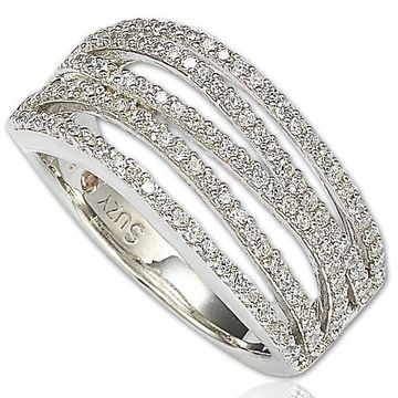 Suzy Levian Cubic Zirconia Sterling Silver Gladiator Ring