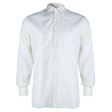 Brioni Off-White Herringbone Striped Long Sleeve Buttondown Cotton Shirt M