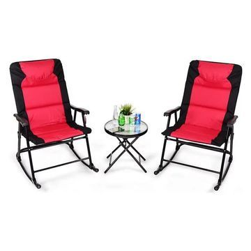 Costway 3 PCS Outdoor Folding Rocking Chair Table Set Bistro Sets Furn