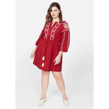 Violeta BY MANGO - Embroidered detail dress red - 16 - Plus sizes