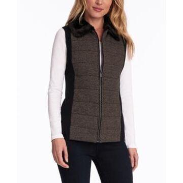 Jones New York Faux-Fur-Collar Quilted Vest