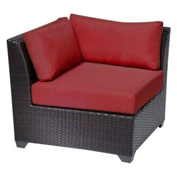 TK Classics Barbados Outdoor Wicker Corner Chair, Terracotta