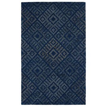 Kaleen Evanesce 4 x 6 Blue Indoor Geometric Mid-Century Modern Handcrafted Area Rug Cotton   ESE02-17-3656