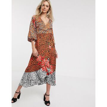Liquorish wrap front satin midaxi dress in animal floral-Multi