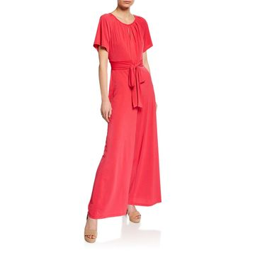 Short-Sleeve Jersey Jumpsuit with Sash Tie