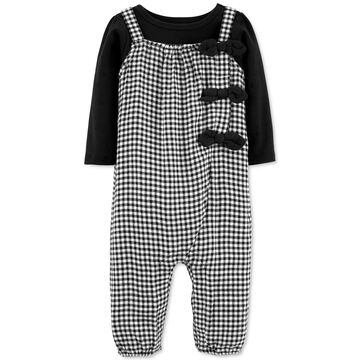 Baby Girls 2-Pc. T-Shirt & Gingham Jumpsuit Set