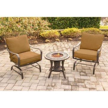 Hanover Outdoor Summer Nights 3-Piece Fire Urn Chat Set with Steel-Frame Rockers, Desert Sunset