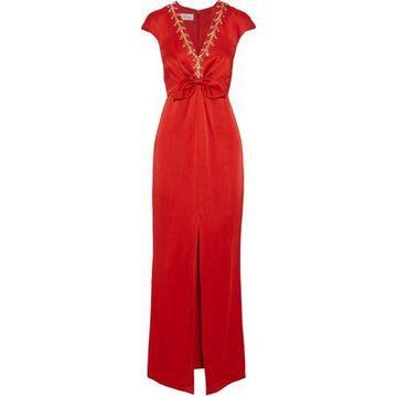 Temperley London Nile Tie Split-front Embellished Satin-crepe Gown
