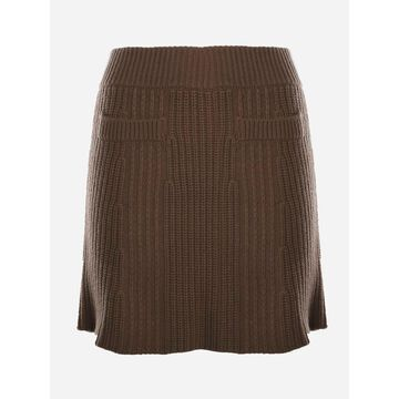 Wool And Cashmere Skirt With All-over Ribbed Texture Blumarine