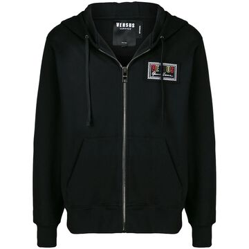 chest logo patch zip hoodie