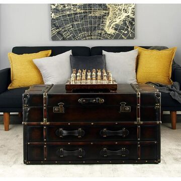 Modern 21 Inch Rectangular Black Leather Coffee Table by Studio 350
