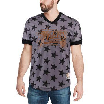 Mitchell & Ness Philadelphia 76ers Black Hardwood Classics Wordmark Mesh V-Neck Pullover Shooting Shirt